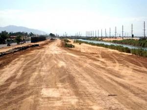 The sandy riverbank where Jim & Rex would walk