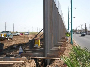 Working on the steel wall