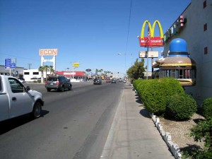 Calexico's main street with McDonalds