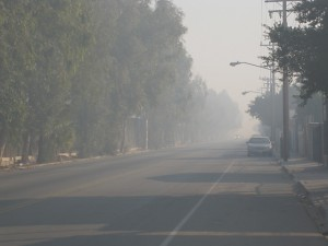 The smoky Mexicali border road