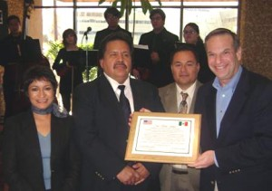 Congressman Bob Filner was recently presented with a plaque in recognition of his introduction of H.R. 3270, Visitors Interested in Strengthening America Act (VISA Act), which would grant humanitarian visa waivers to children and their parents coming across the border for medical appointments or for educational or cultural events. Pictured here with the Congressman are (from left) Gloria Maria Loza Galvan, Assembly Speaker, State of Baja California; Dr. Carlos O. Maya Quevedo, American Academy of Orthopedic Surgeons; and Jose Luis Jaral Moreno, Binational Committee for Immigrant Human Rights.