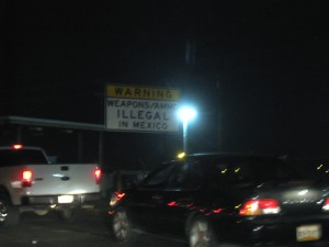 The Mexicali border warning sign