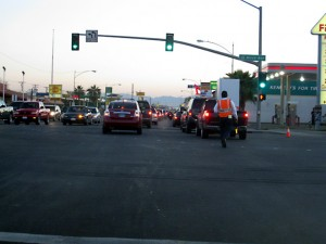 The line waiting to enter Mexicali