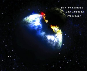 The baby moon head for orbit, taking with it San Francisco, Los Angeles, and Mexicali!