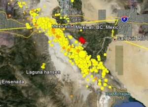Each dot an earthquake and right along the line where Baja California is being split by the Sea of Cortez