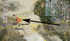 Arrow points from Mexicali to the earthquake - all the red dots are today's quakes!